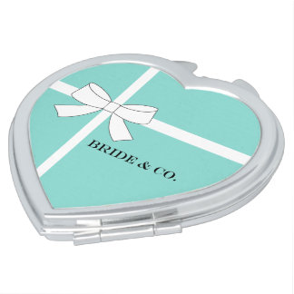 BRIDE & CO. Blue And White Bow Compact Mirrors