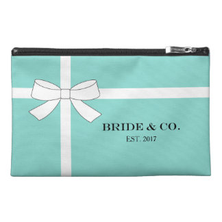 BRIDE & CO Blue and White Bow Travel Accessory Bag