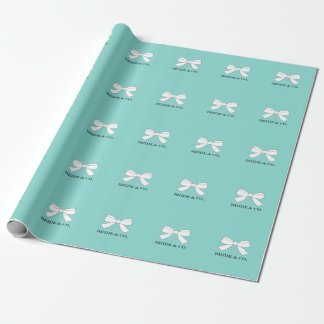 BRIDE & CO Blue And White Bow Wrapping Paper