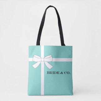 BRIDE & CO Blue & White Bow Wedding Party Tote Bag