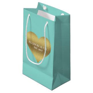 BRIDE & CO Gold Heart Tiffany Teal Blue Gift Bag