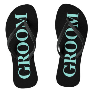 BRIDE & CO Groom Teal Blue Wedding Flip Flops