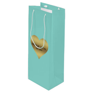 BRIDE & CO Heart Tiffany Teal Blue Wine Gift Bag