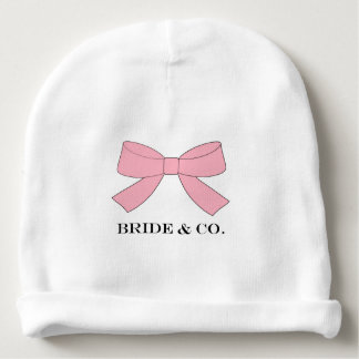 """""""BRIDE & CO Personalize Pink Bow Baby Beanie Hat"""