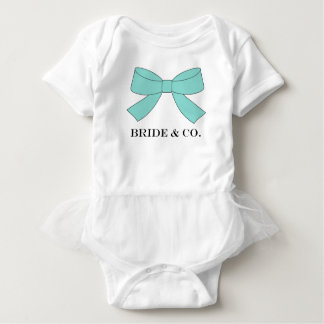 BRIDE & CO Shower Teal Blue Bow Baby Tutu Bodysuit