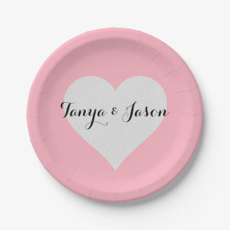 BRIDE & CO Silver Heart Pink Party Plates