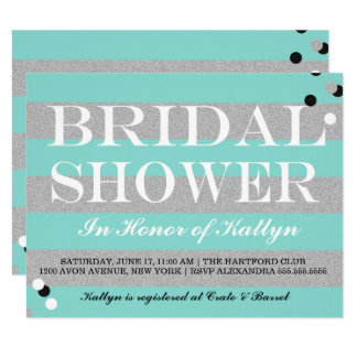 BRIDE & CO Silver & Teal Bridal Shower Invitation