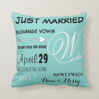 BRIDE & CO Teal Blue Just Married Throw Pillow