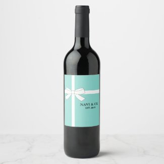 BRIDE & CO Teal Blue Shower Party Personalized Wine Label