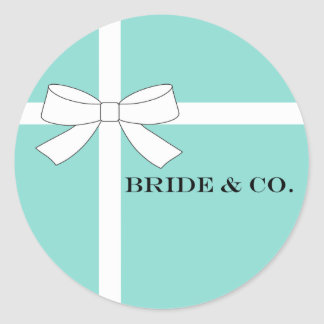BRIDE & CO White And Blue Bow Party Stickers