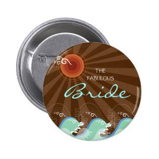 BRIDE Cool Waves & Brown Sun Beach Wedding Button