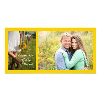 Bride, Cowboy Boots, Sunflowers Wedding Thank You Picture Card