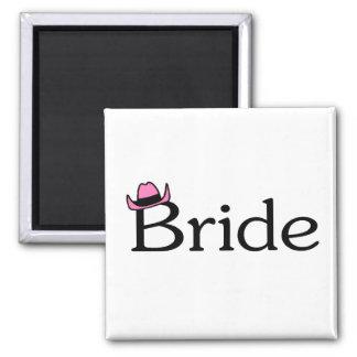Bride (Cowboy Hat) Square Magnet