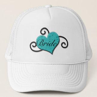 """Bride"" - Crackled Turquoise/Aqua Heart Trucker Hat"