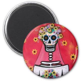 BRIDE dia de los muertos 2 Inch Round Magnet