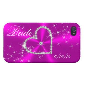 BRIDE - DIAMOND HEART ON FUCHSIA SATIN iPhone 4/4S CASE