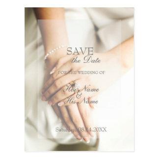 Bride Diamond Ring Wedding Save the Date Postcard