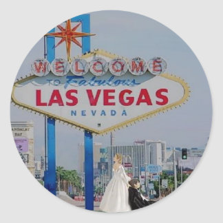 Bride Dragging Groom Las Vegas Sign Sticker