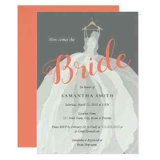 Bride dress wedding shower card