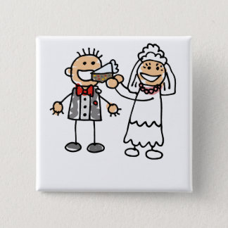 Bride Feeds Groom 2 Inch Square Button