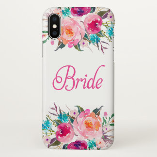Bride Floral Pink Glitter Zazzle iPhone X Case
