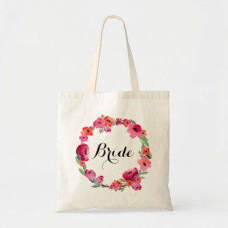 Bride Floral Watercolor Wreath Wedding Party Tote Bag