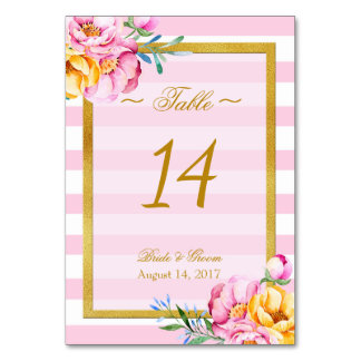 Bride flower bouquet- Floral Wedding Table Number