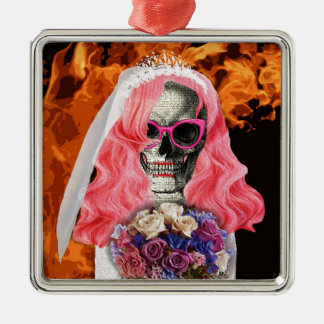 Bride from hell Silver-Colored square ornament