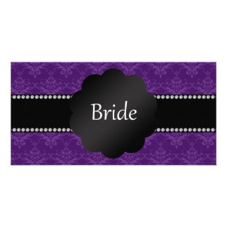 Bride gifts purple damask photo card template
