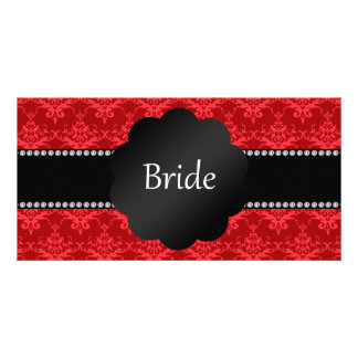 Bride gifts red damask custom photo card