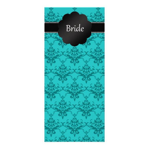 Bride gifts turquoise damask rack card template