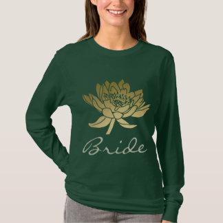 BRIDE GLAMOROUS GOLD DARK GREEN  LOTUS FLORAL T-Shirt