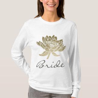 BRIDE GLAMOROUS PALE GOLD WHITE LOTUS FLORAL T-Shirt