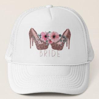 Bride   Glitter High Heels Pink Floral Trucker Hat