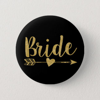 Bride | Glitter-Print Golden 2 Inch Round Button