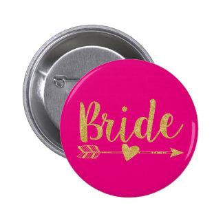 Bride | Glitter-Print Golden&Hot Pink 2 Inch Round Button
