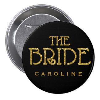 Bride Gold Faux Glitter Name Tag Button