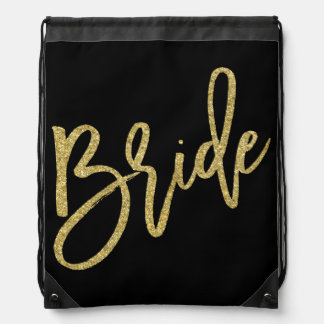 Bride Gold Glitter Script Drawstring Bag