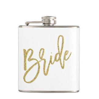 Bride Gold Glitter Script Hip Flask