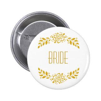 Bride Gold Wreath 2 Inch Round Button