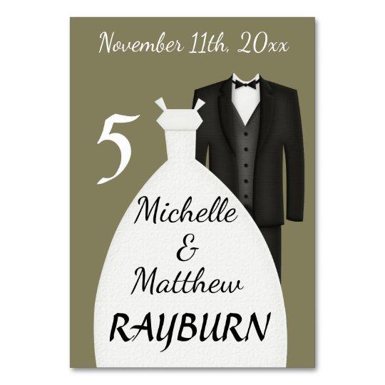 Bride & Groom Attire/ Taupe TABLE CARD