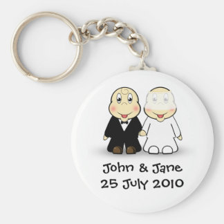 Bride & Groom Basic Round Button Keychain