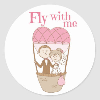 Bride & Groom Brown Pink Hot Air Balloon Wedding Round Sticker