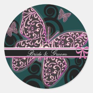 Bride Groom Butterflies Swirl Purple Black White Classic Round Sticker