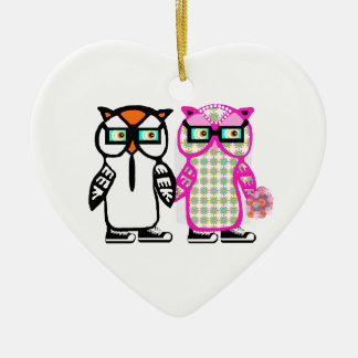 Bride & Groom Hipster Owls Wedding White Ornament
