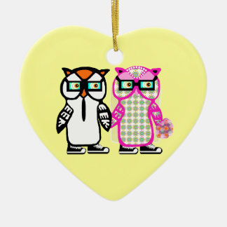 Bride & Groom Hipster Owls Yellow Wedding Ornament