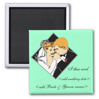 Bride & Groom I Thee Wed Teal Background Square Magnet