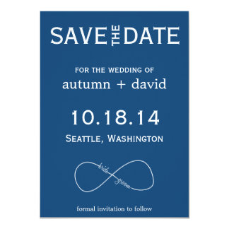 "Bride & Groom Infinity Modern Save the Date 4.5"" X 6.25"" Invitation Card"
