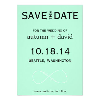 Bride Groom Infinity Modern Save the Date Personalized Invitation