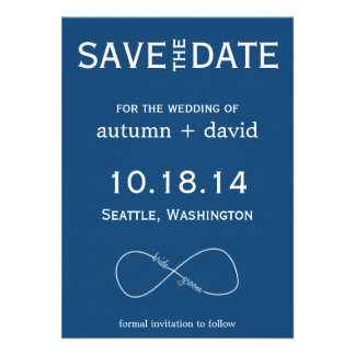 Bride Groom Infinity Modern Save the Date Announcements